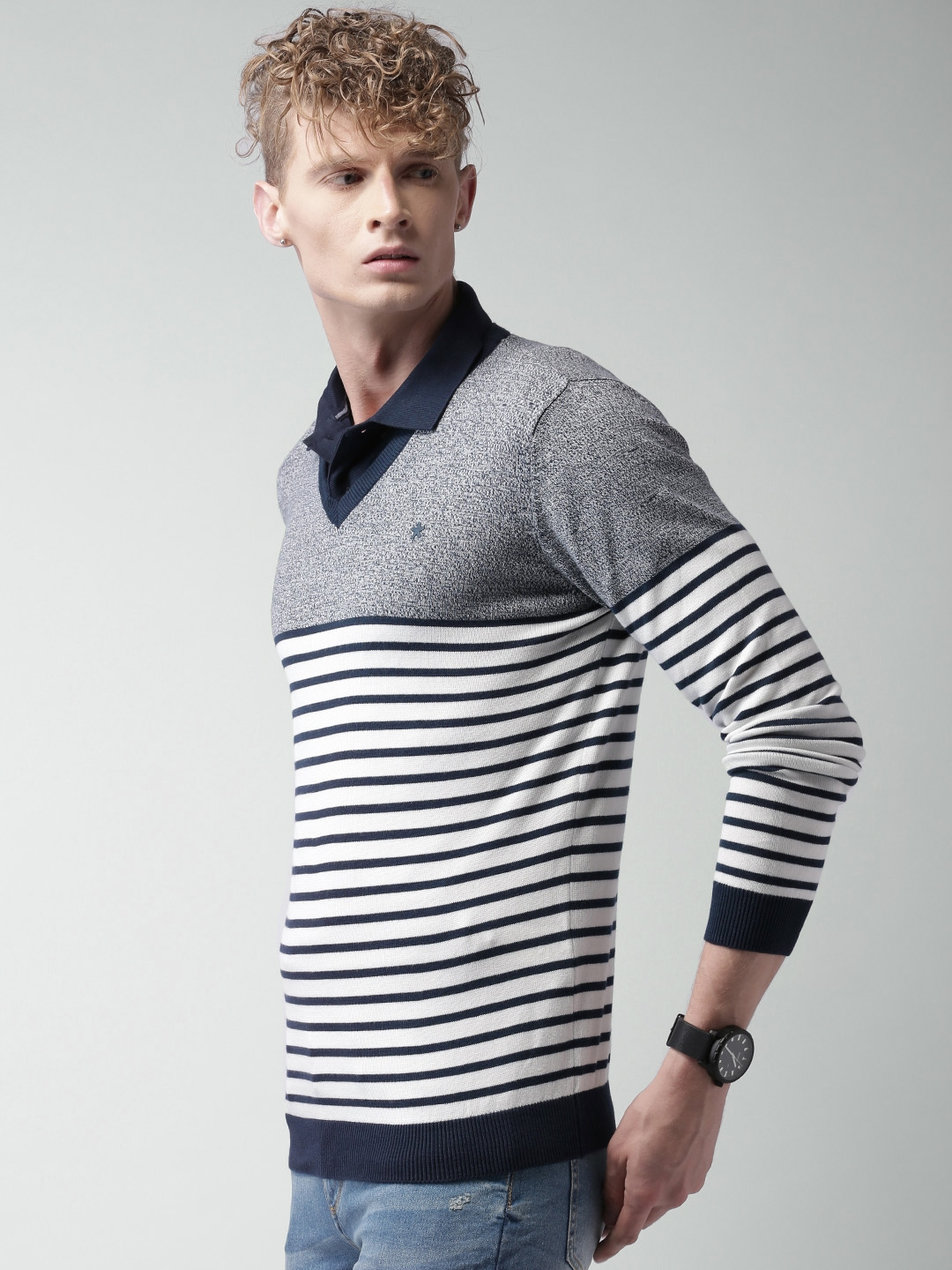 Buy Celio Men Navy Blue White Striped Sweater Sweaters For Men
