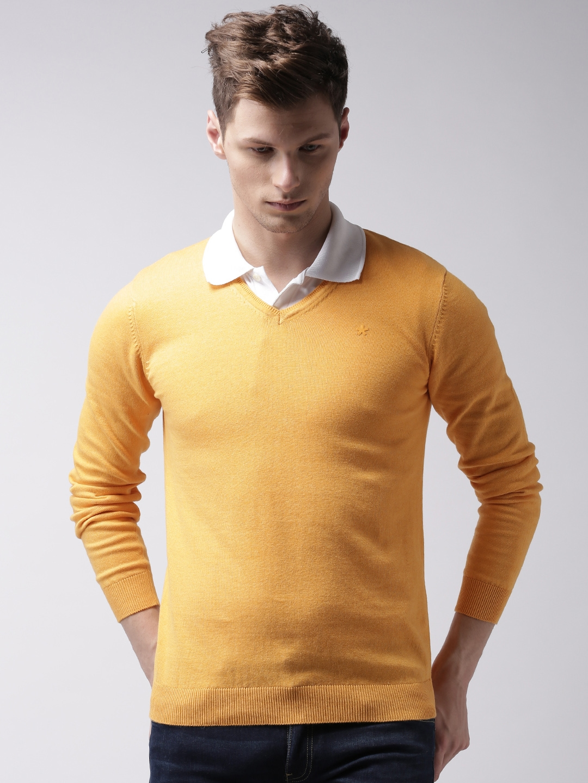 Buy Celio Men Mustard Yellow Sweater Sweaters For Men 1513785 Myntra