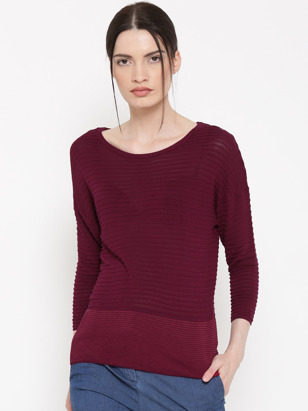 54b958467a Buy United Colors Of Benetton Women Wine Coloured Self Striped ...