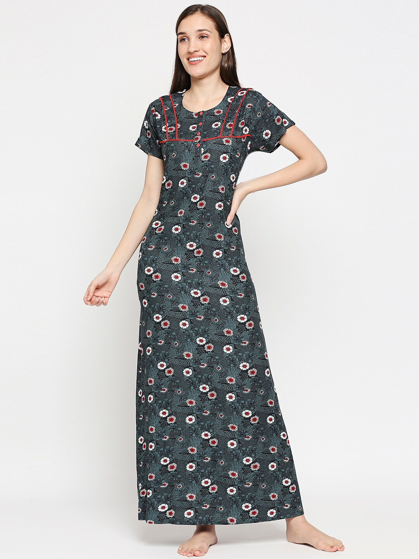 XIN Women Grey   White Floral Printed Short Sleeves Night Dress