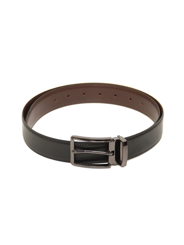 Calvadoss Men Black Textured PU Casual Belt