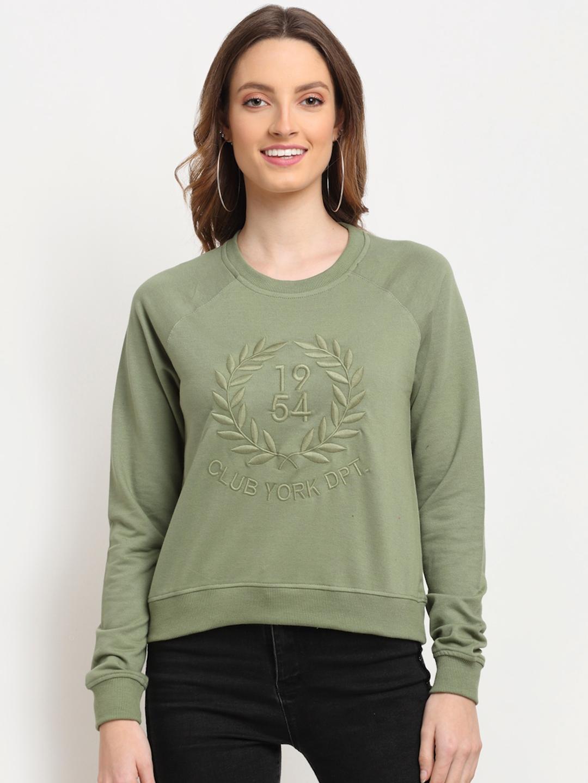 Club York Women Olive Green Embroidered Sweatshirt