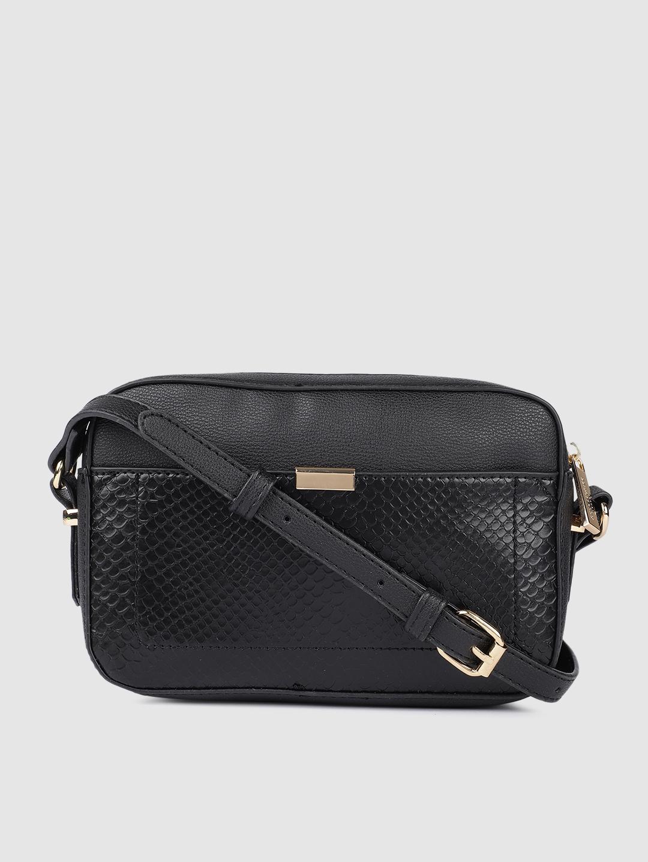 Accessorize Black Piper Camera Croc Textured Structured Sling Bag