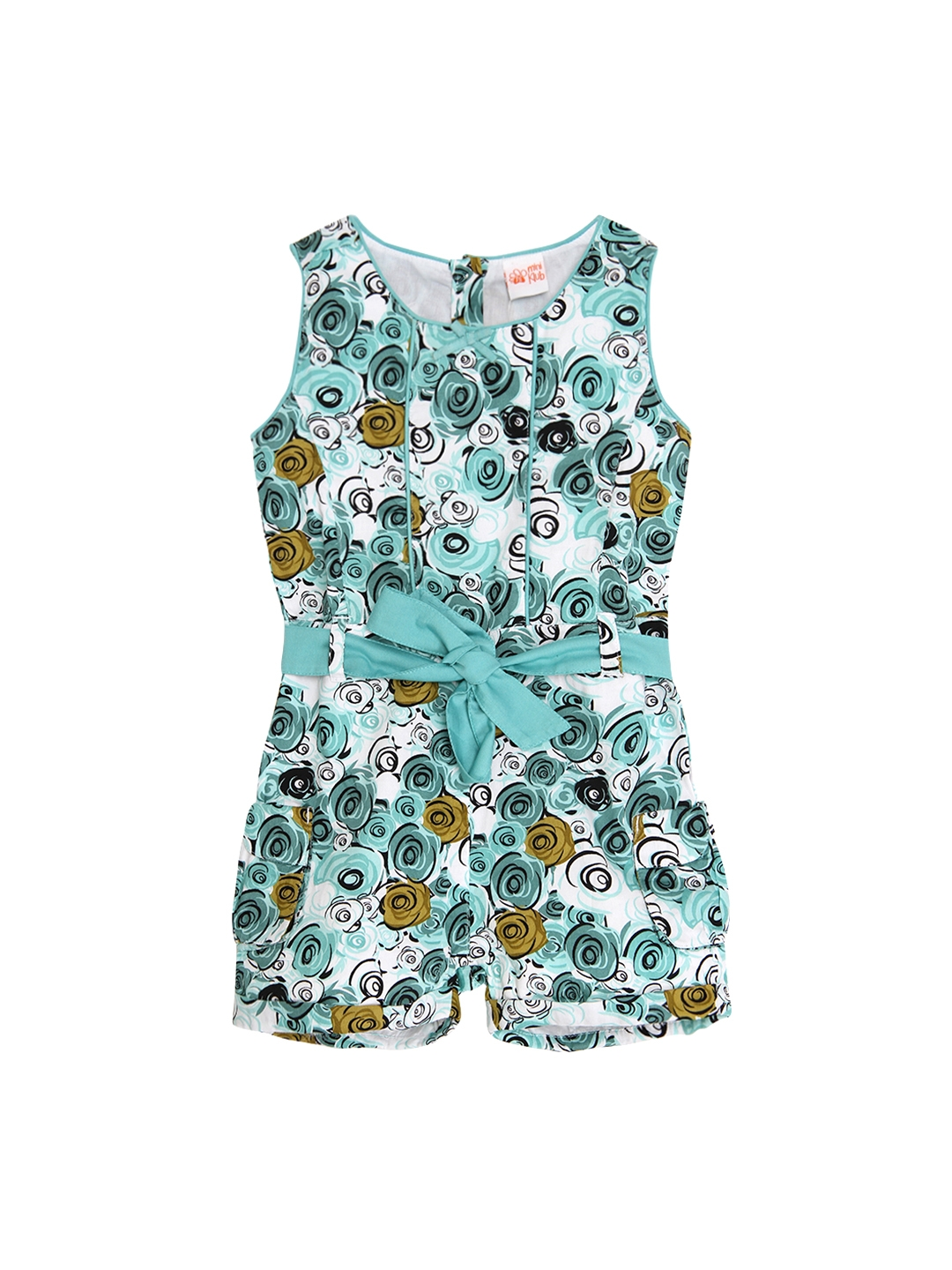 61832c22b29 Buy FS Mini Klub Girls Green Printed Playsuit - Jumpsuit for Girls ...
