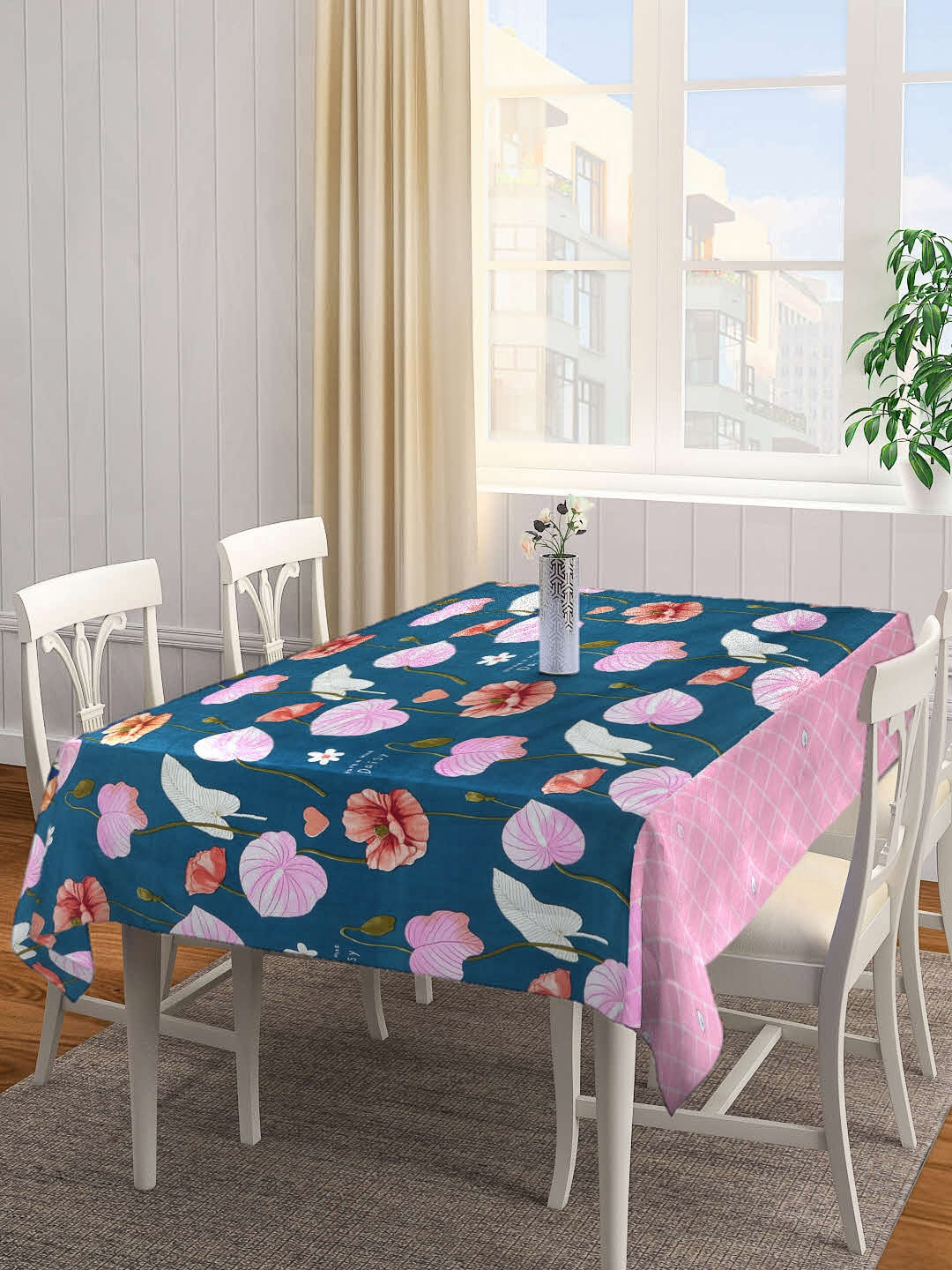 Arrabi Navy Blue   Pink Floral Printed 6 Seater Table Cover