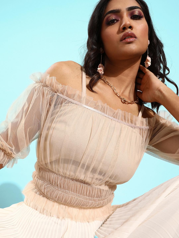 Athena Women Classy Beige Self Design Top