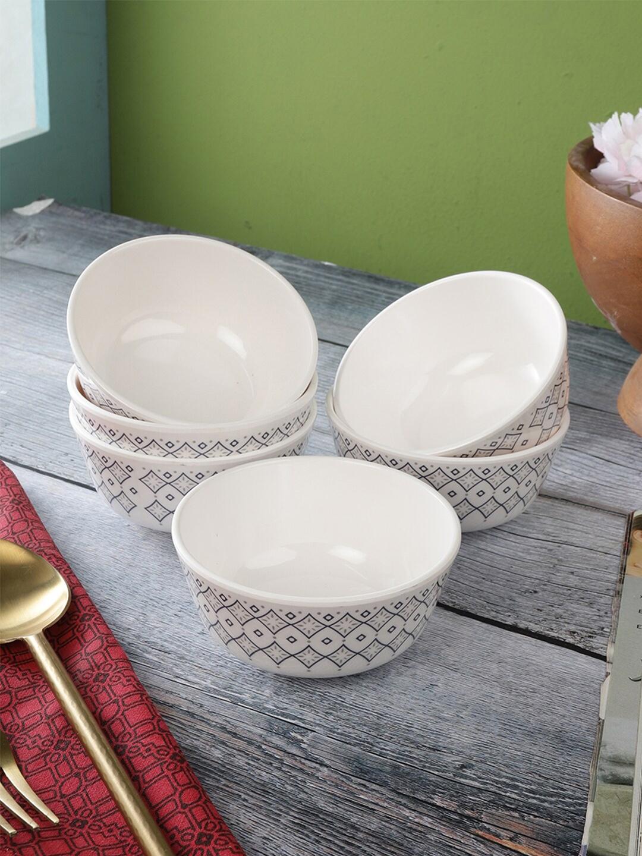 Servewell Pack Of 6 White   Grey Printed Melamine Veg Bowls Set