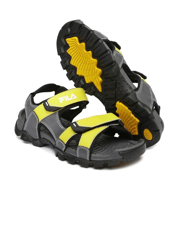 f342012952fb Buy FILA Men Grey   Yellow Review Sports Sandals - Sports Sandals ...