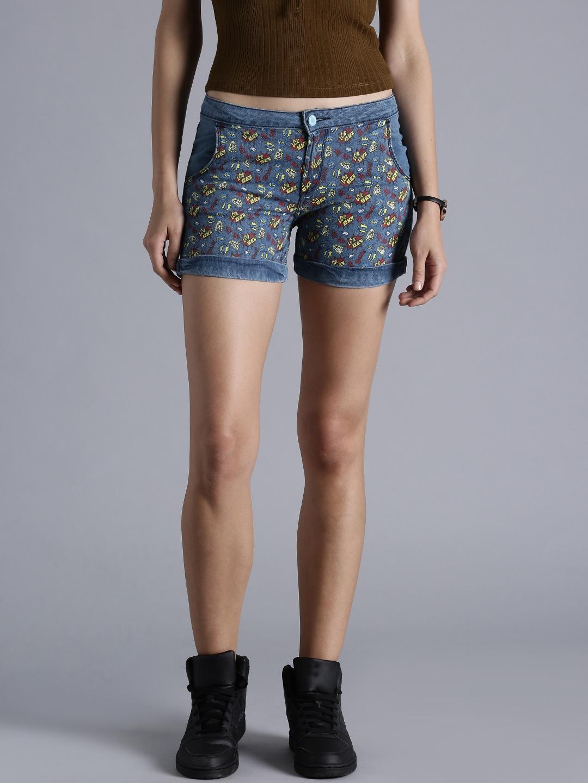 ba02c8e4f0ee2 Buy Kook N Keech Women Blue Printed Denim Shorts - Shorts for Women ...