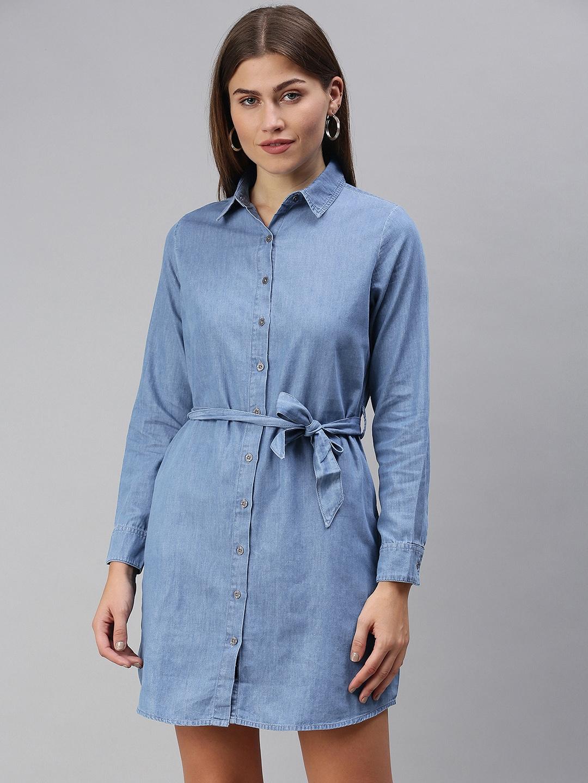 The Souled Store Blue Denim Shirt Dress