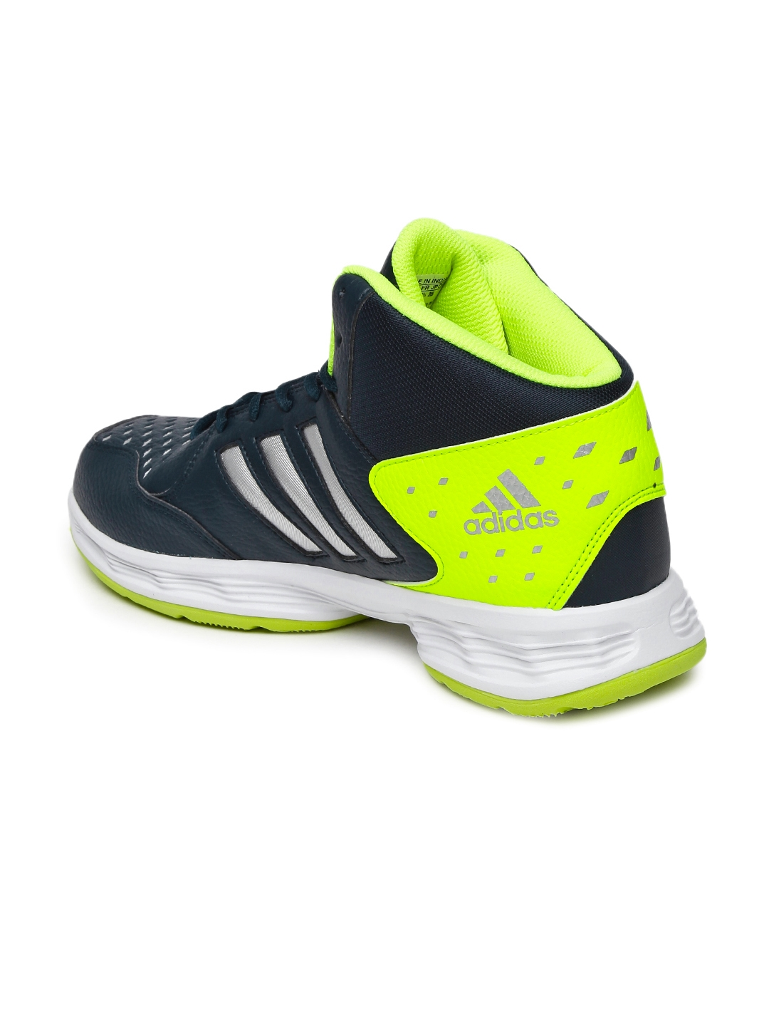 dc1db486026d ADIDAS Men Navy and Fluorescent Green Mid-Top Basecut 16 Basketball Shoes