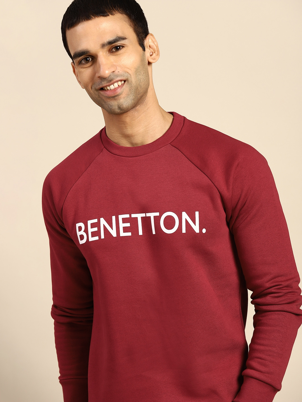 United Colors of Benetton Men Maroon Printed Sweatshirt