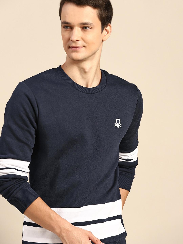 United Colors of Benetton Men Navy Blue Solid Sweatshirt