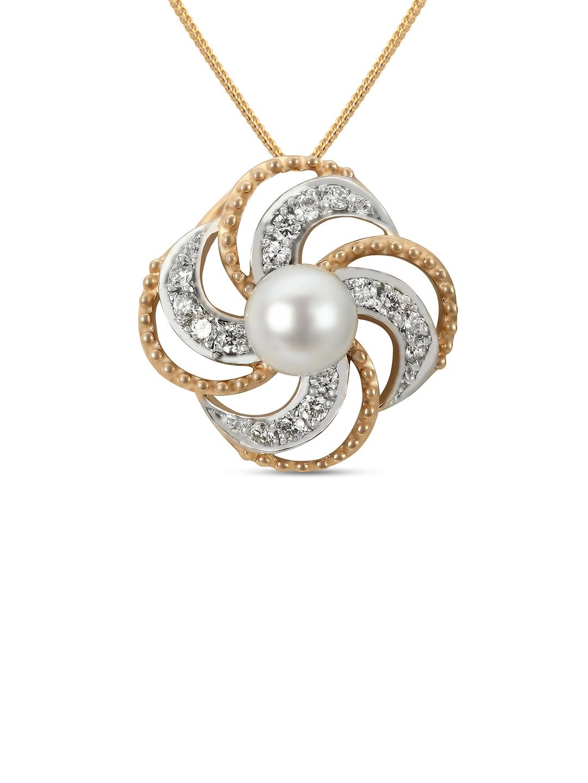Mia by Tanishq 14KT Gold Oranje Blossom Pendant with Diamonds
