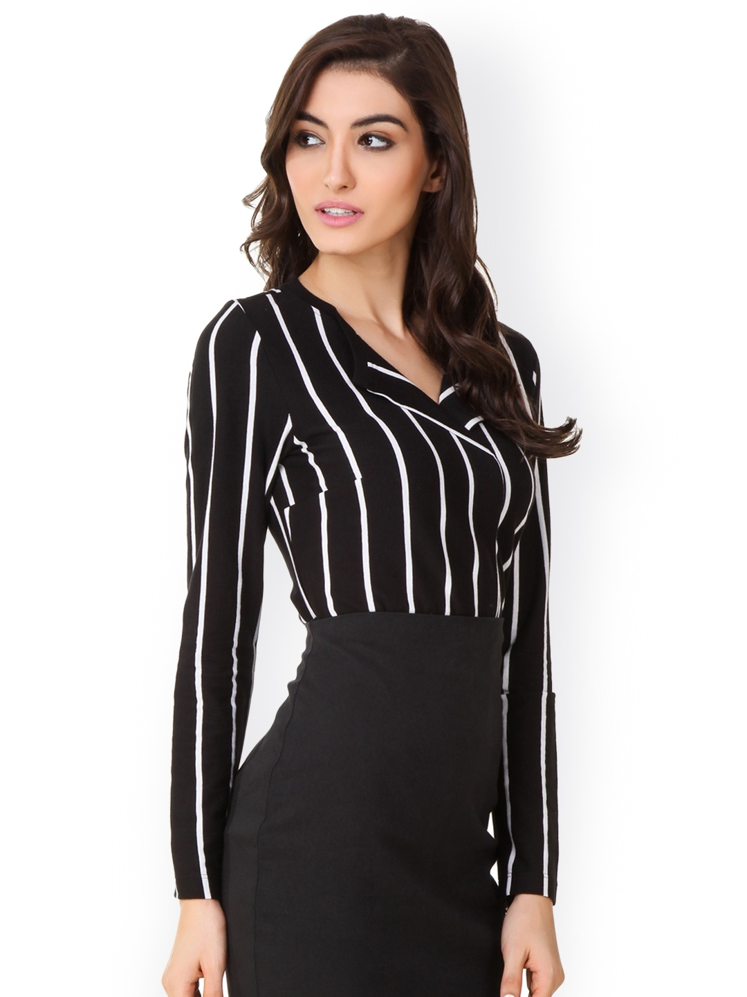 3894f94aa59 Buy Texco Women Black   White Striped Formal Shirt - Shirts for ...