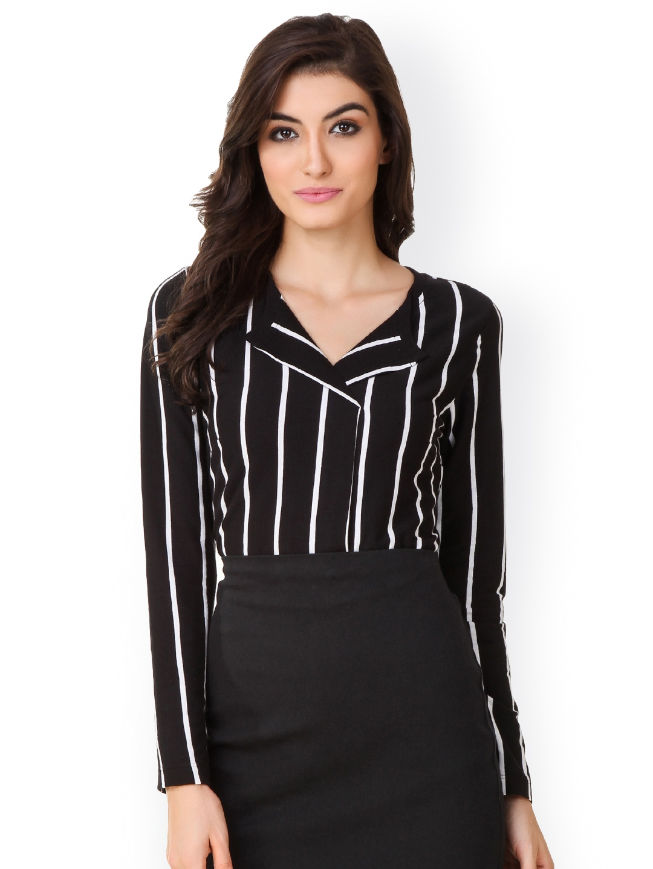 e7d905a23fe Buy Texco Women Black   White Striped Formal Shirt - Shirts for Women  1527257