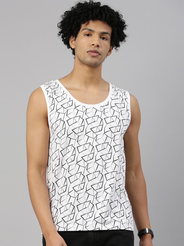 Kryptic Men White Printed Vest