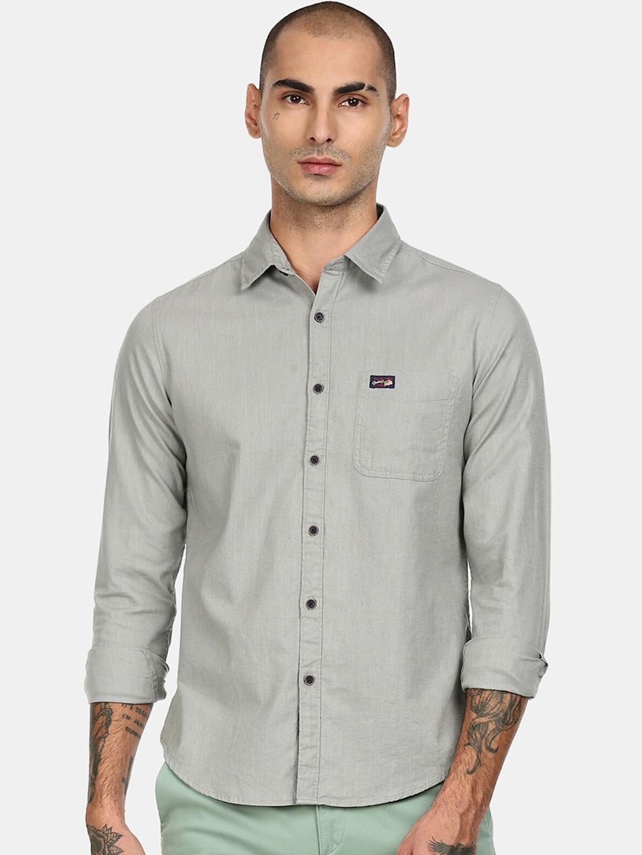 U S Polo Assn Men Grey Solid Casual Shirt
