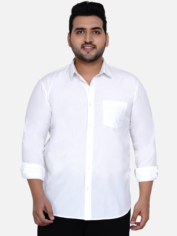 John Pride Men White Opaque Casual Shirt