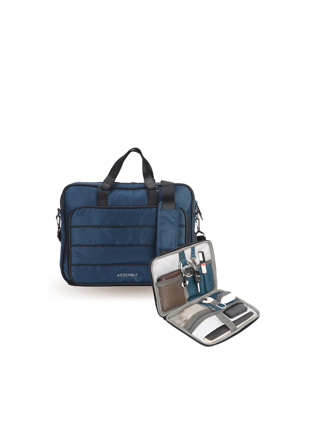 THE ASSEMBLY Unisex Blue   Black Solid Formal Laptop Bag With Tech Kit Gadget Organizer