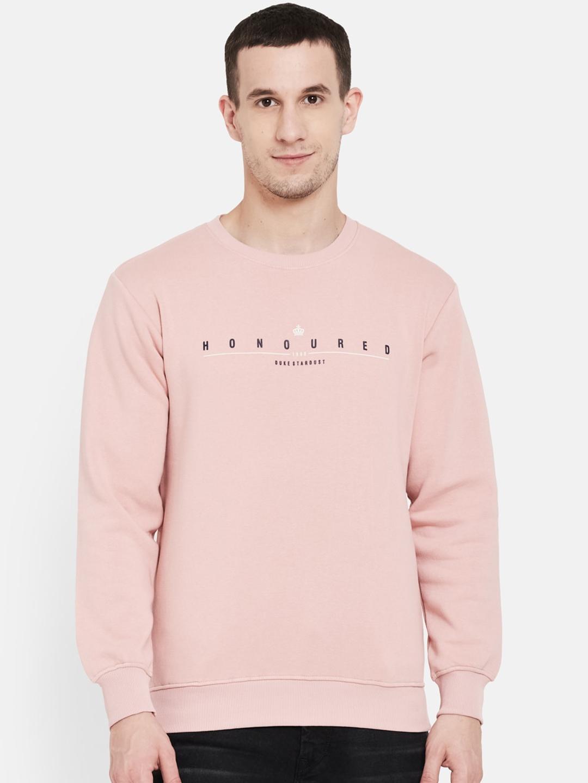 Duke Men Pink Printed Sweatshirt