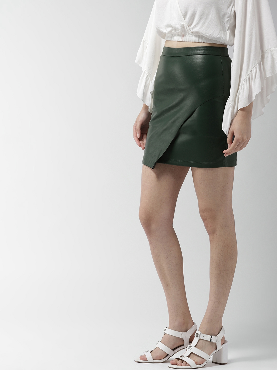 5ffa99718 Beige Faux Leather Pencil Skirt
