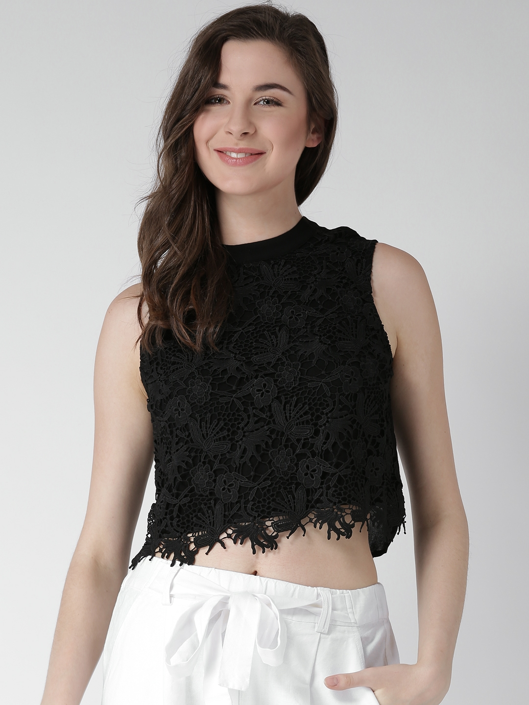 ca1a50563b36d Buy FOREVER 21 Women Black Lace Crop Top - Tops for Women 1536331 ...
