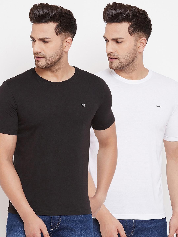 Okane Men Pack of 2 Black   White Solid T shirts