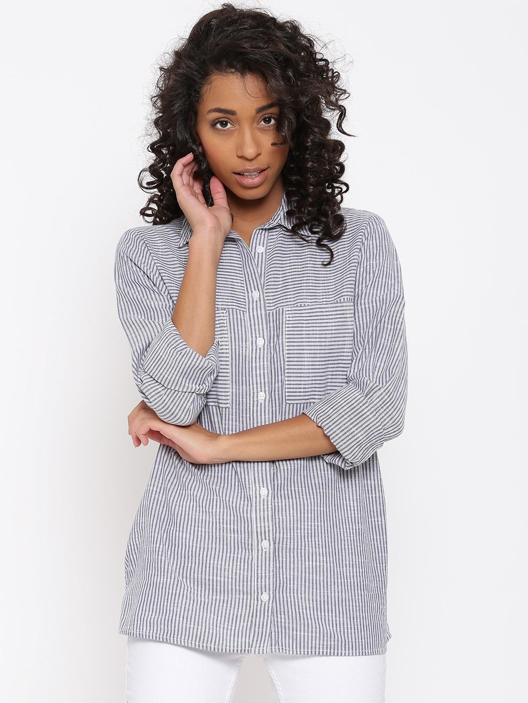 5c89a03847 Buy New Look Women Blue Striped Shirt - Shirts for Women 1538673 ...