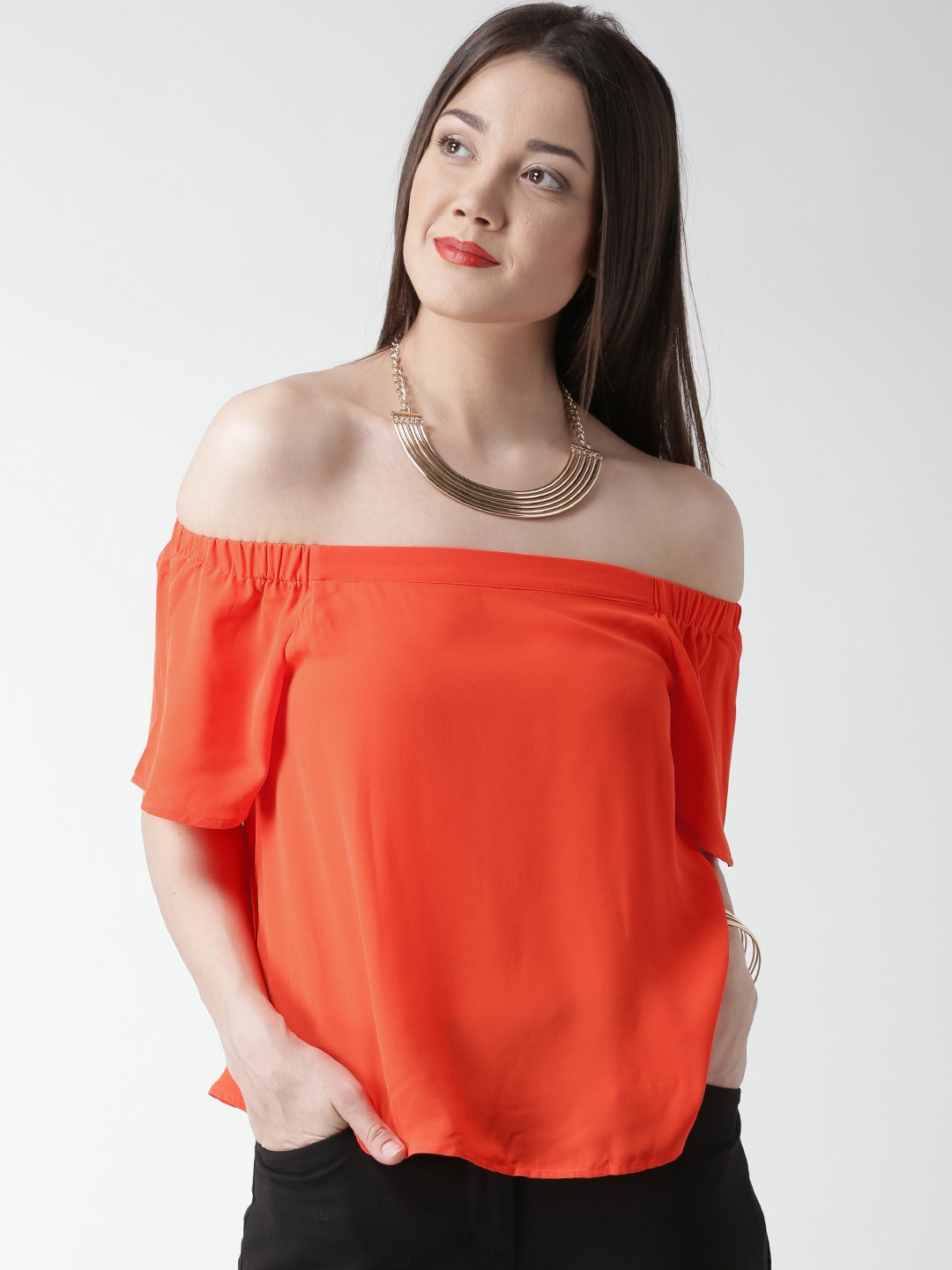 ed19744a988 Buy New Look Women Neon Orange Solid Off Shoulder Top - Tops for ...