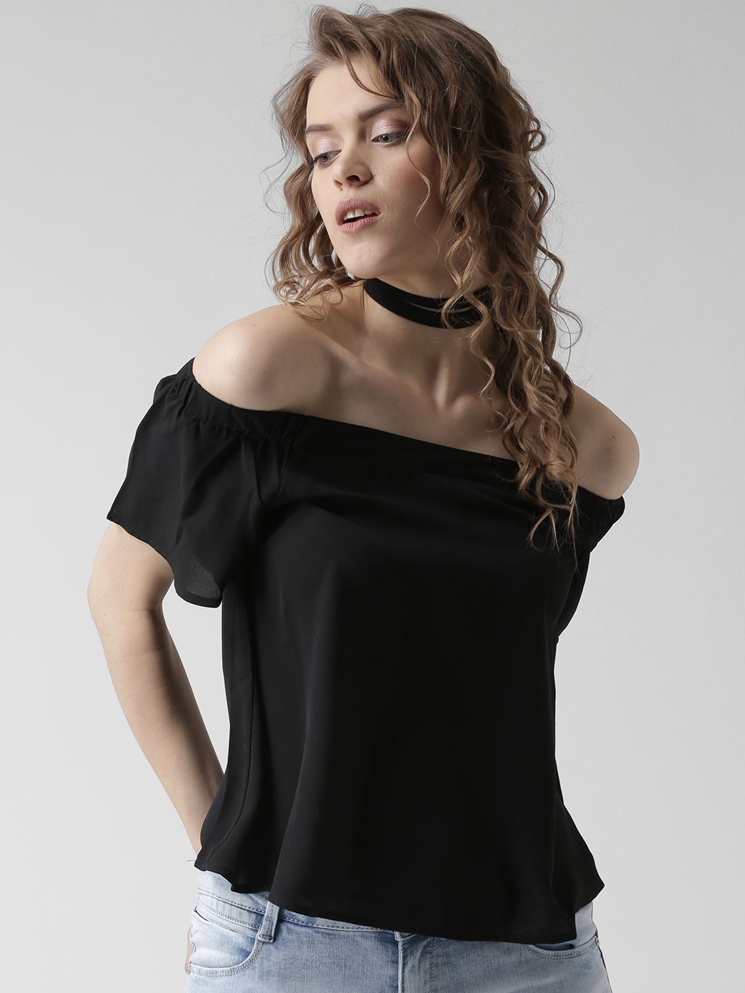 f90badf3405 Buy New Look Women Black Solid Off Shoulder Top - Tops for Women ...