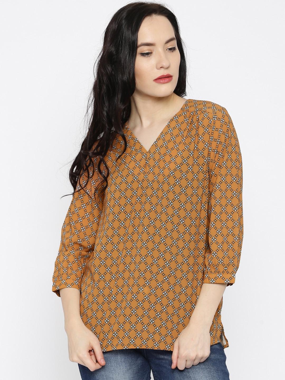 64d13180a54f4a Buy Van Heusen Woman Mustard Yellow Printed Top - Tops for Women 1539353 |  Myntra