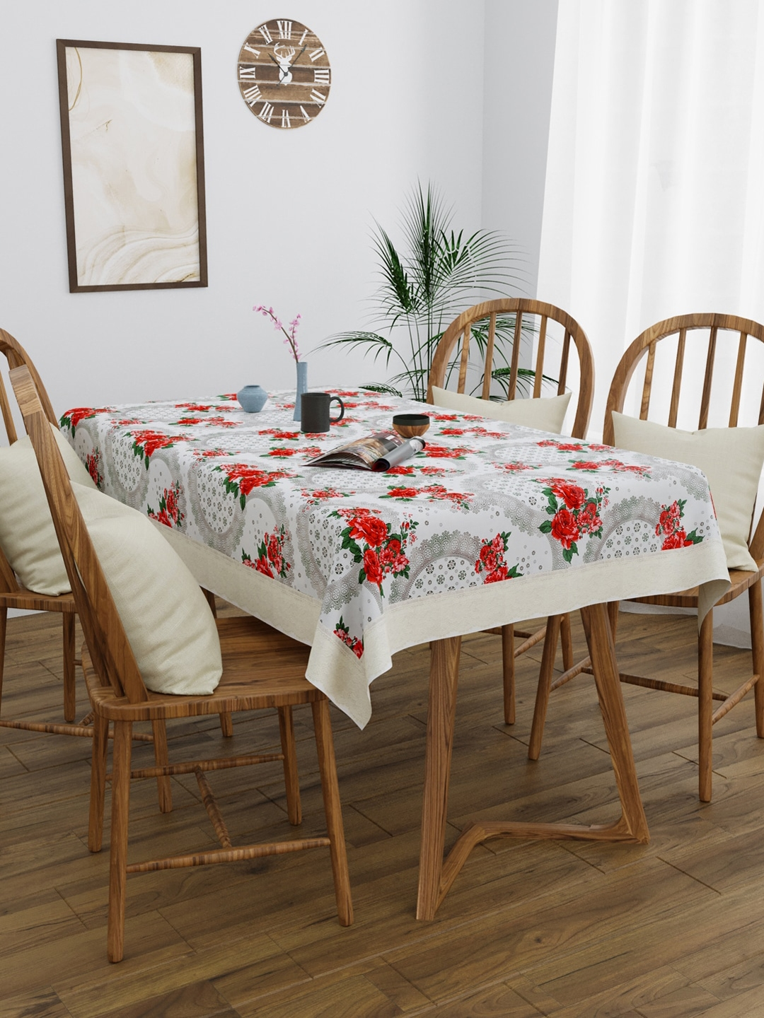 Clasiko White   Red Floral Printed 4 Seater Rectangle Table Cover