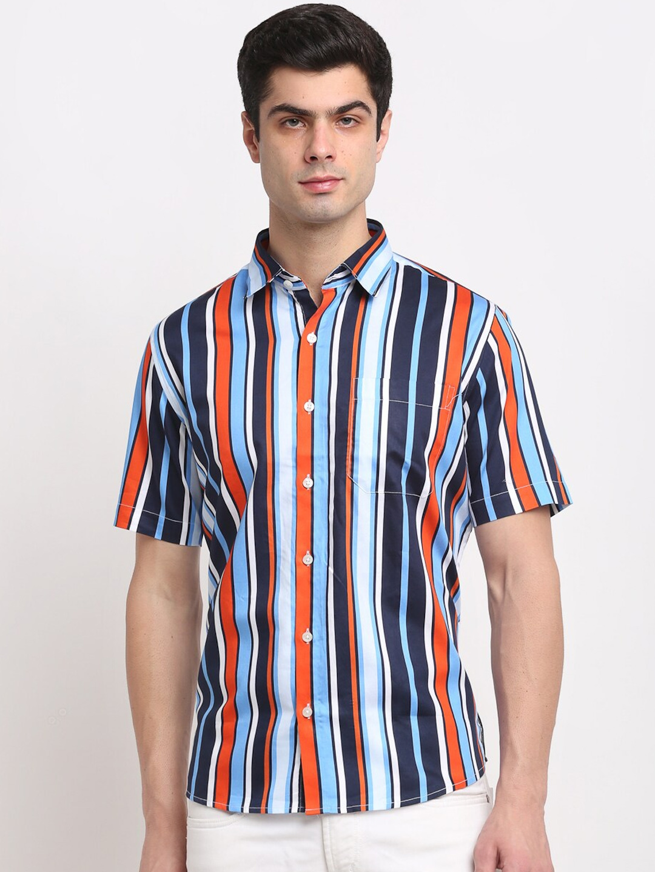 FINNOY Men Blue   White Striped Casual Shirt