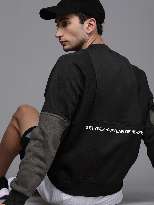 Nike Men Black Printed Colourblocked Sleeves Sweatshirt