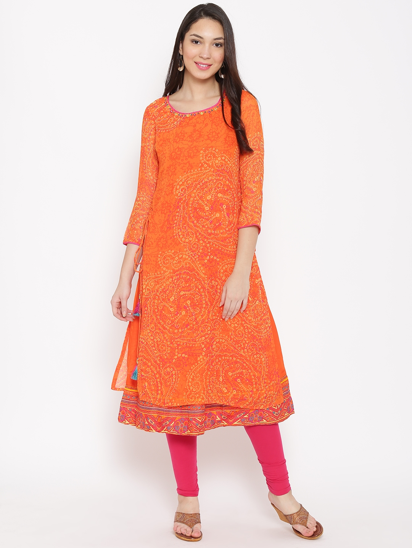 3ffd522a9 Buy Biba Women Orange Printed Layered Straight Kurta - Kurtas for ...