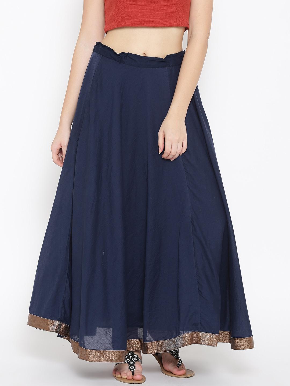 1f93acd63061 Buy Biba Navy Flared Maxi Skirt - Skirts for Women 1542181   Myntra