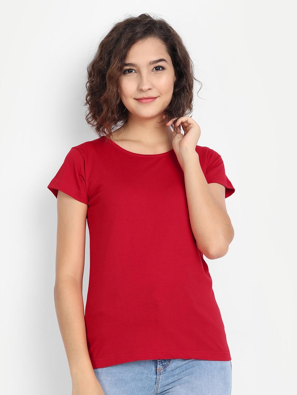 BE AWARA Women Red Solid T shirt