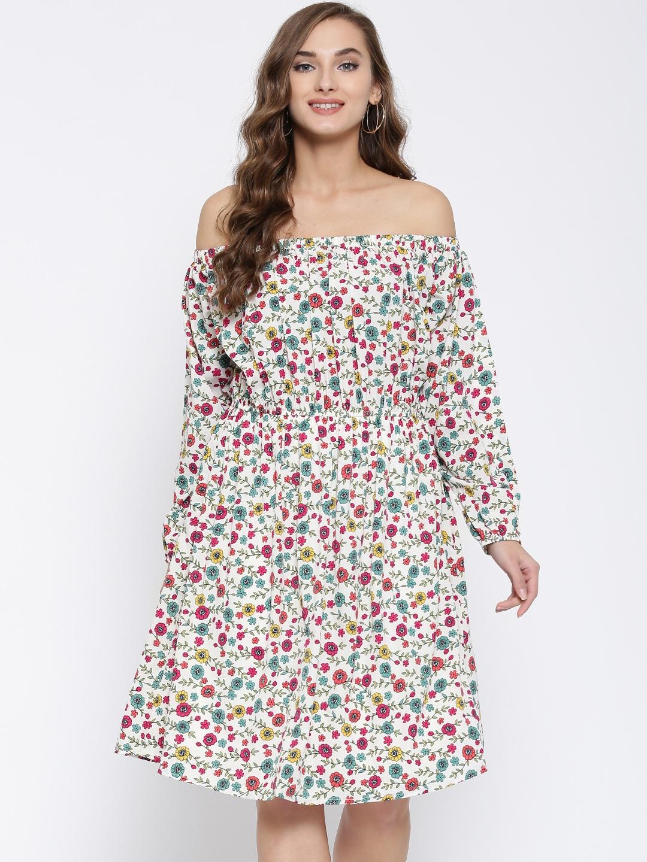 8562d8072921 Sera Women Off-White   Pink Floral Print Off-Shoulder Fit   Flare Dress