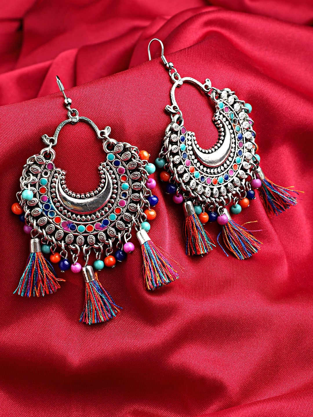 Mali Fionna Multicoloured Alloy Silver Plated Contemporary Drop Earrings