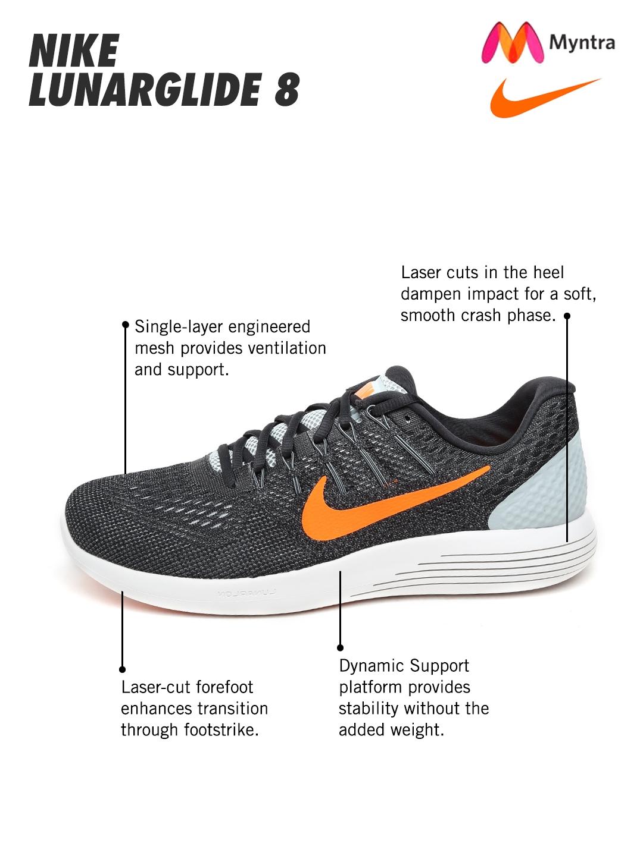 31117417c9a Buy Nike Men Charcoal Grey Lunarglide 8 Running Shoes - Sports Shoes ...