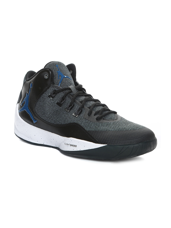Buy Nike Men Black   Charcoal Grey Jordan Rising High 2 Basketball ... 755ebf80a