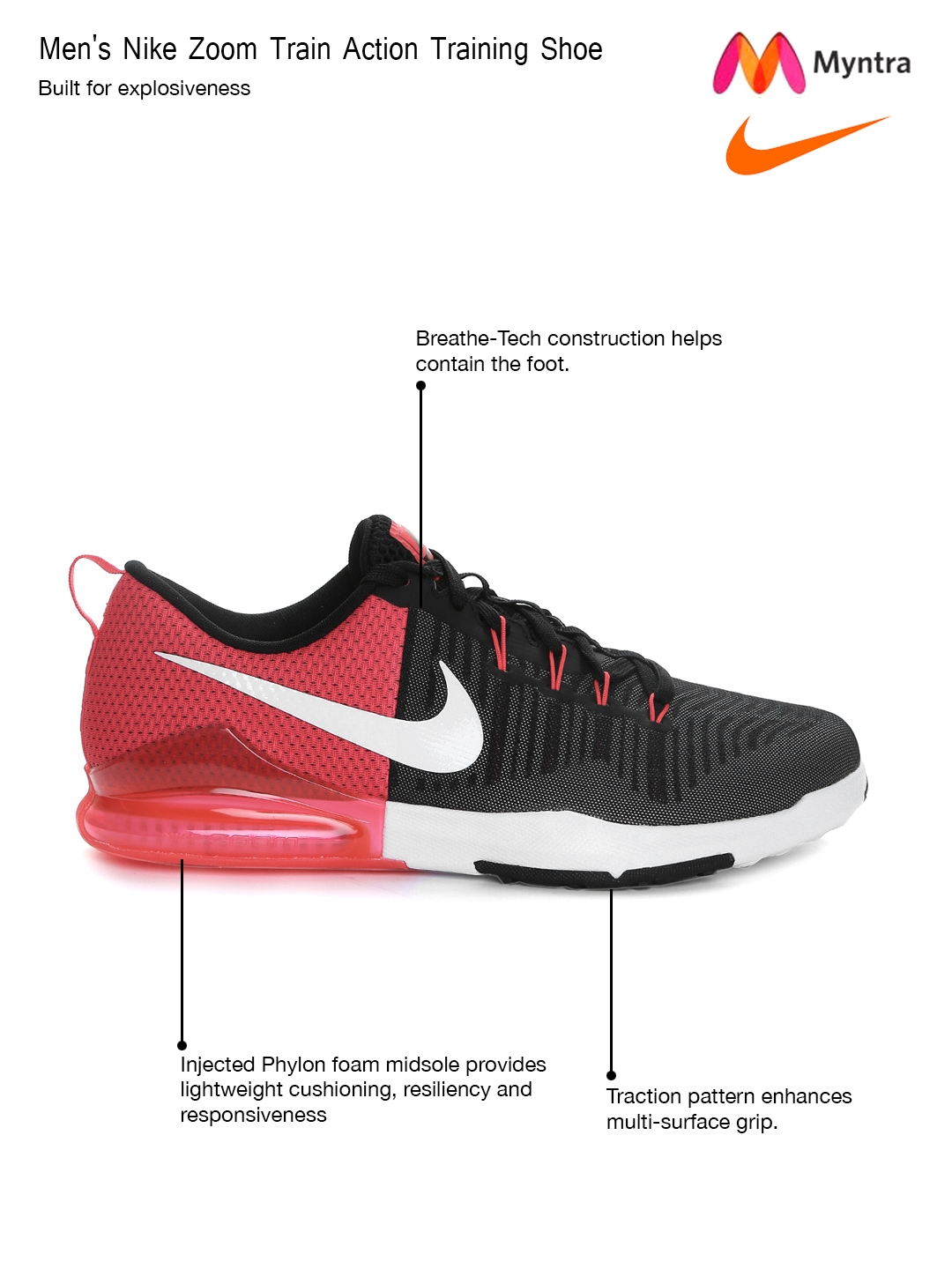 57da8a8131f9 Buy Nike Men Black   Red Zoom Train Action Training Shoes - Sports Shoes  for Men 1547981