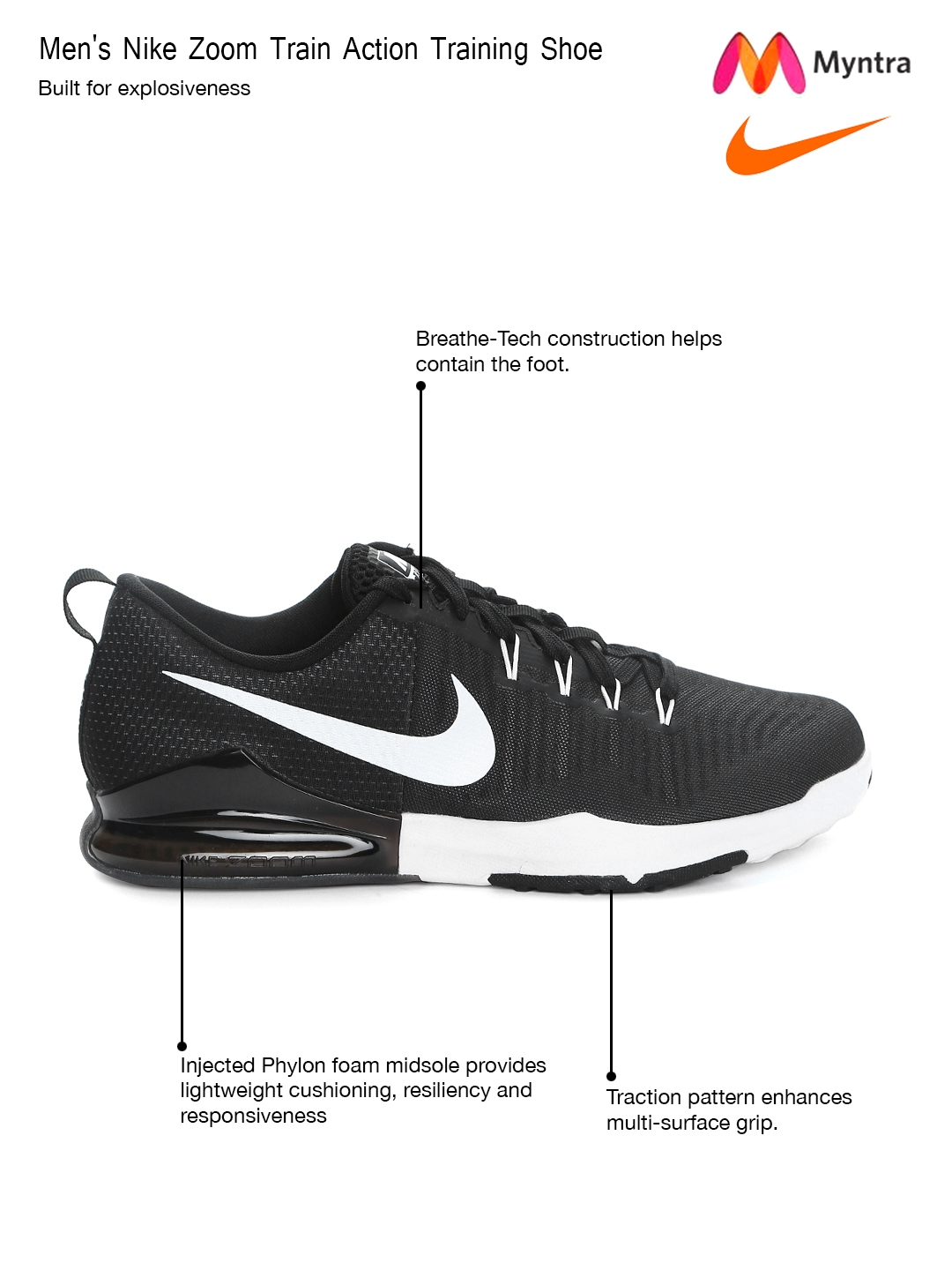 9b72262a53bb Buy Nike Men Black ZOOM Train Action Training Shoes - Sports Shoes for Men  1547982