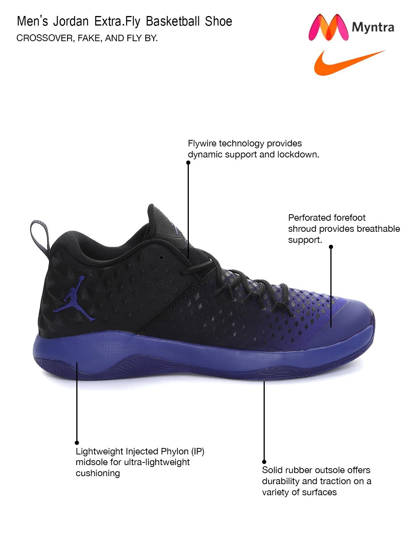 buy popular 13312 51880 Buy Nike Men Black & Purple Jordan Extra Fly Mid Top Basketball Shoes -  Sports Shoes for Men 1547994   Myntra