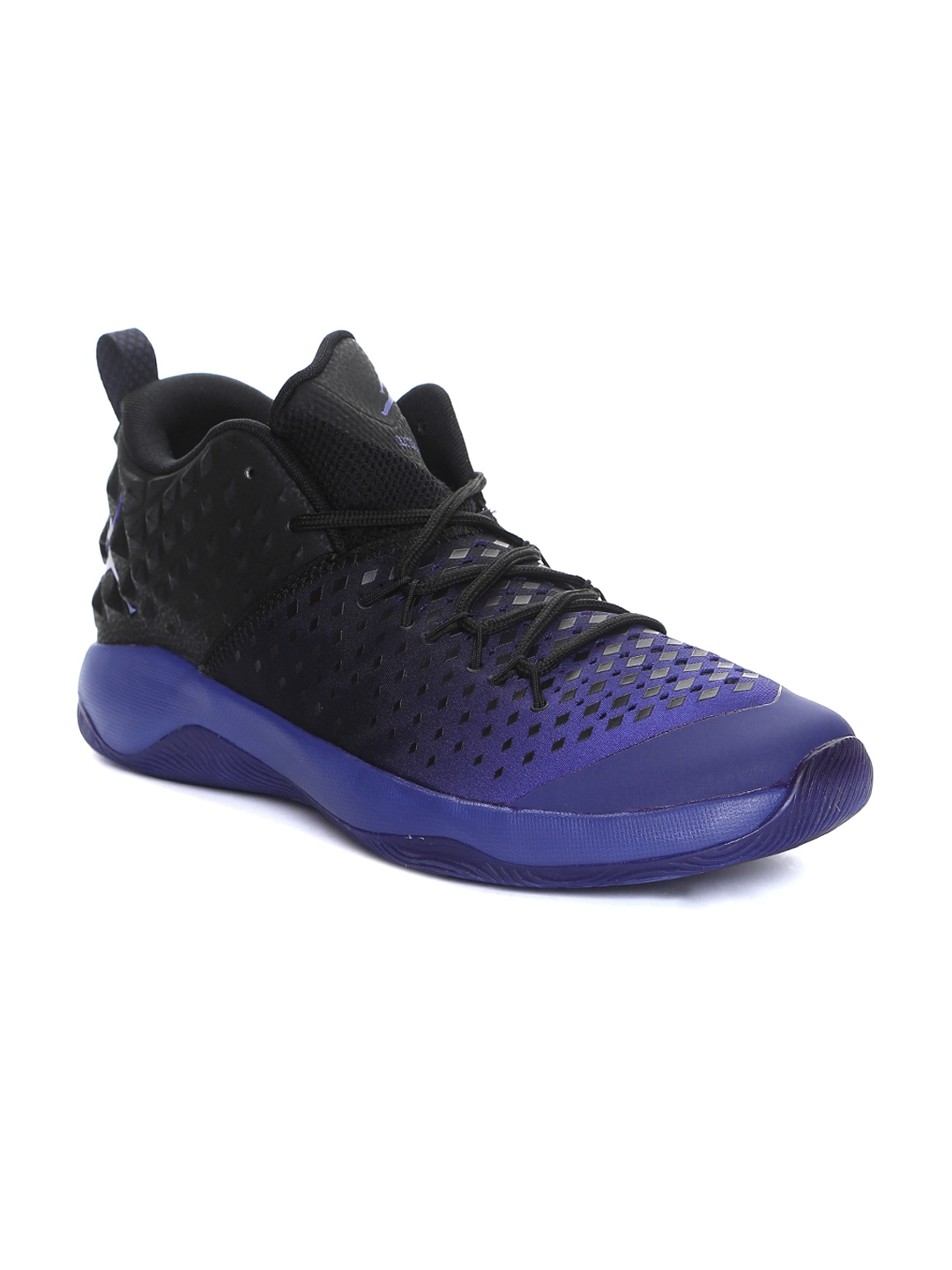 online retailer 94435 db9d9 Nike Men Black   Purple Jordan Extra Fly Mid-Top Basketball Shoes
