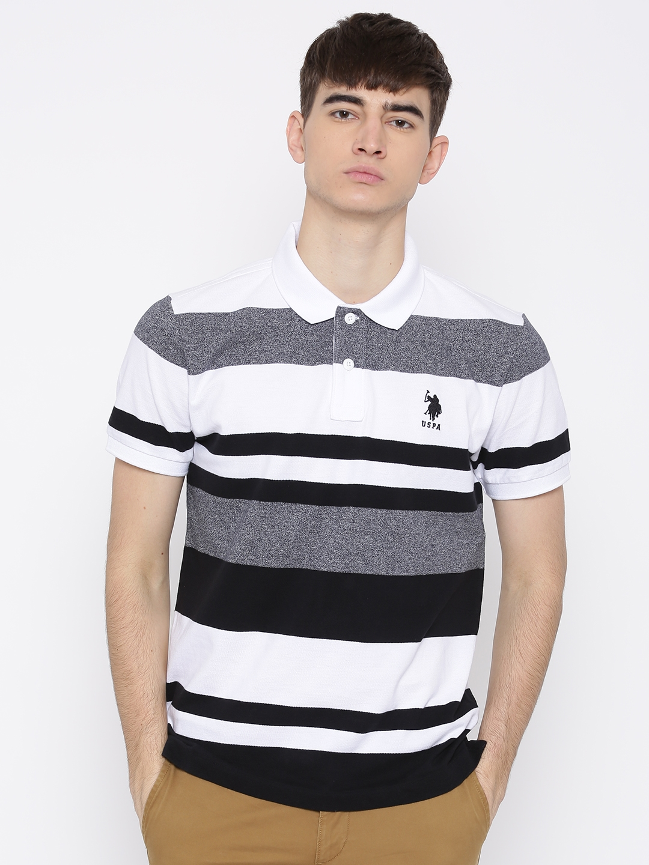 f7cae54b Buy U.S. Polo Assn. Men White & Black Striped Polo Collar T Shirt ...