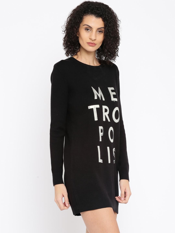 c0034b97d8e Buy Metersbonwe Women Black Embellished Sweater Dress - Dresses for ...