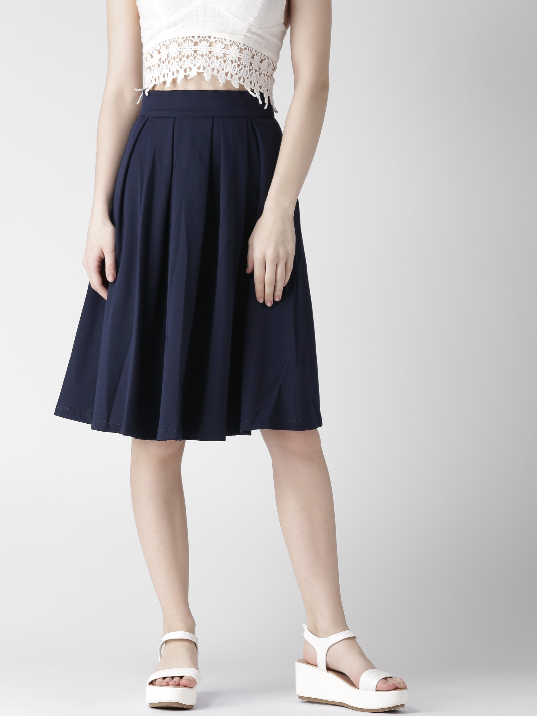 14c2a7638fad Buy FOREVER 21 Navy Pleated Skirt - Skirts for Women 1552607
