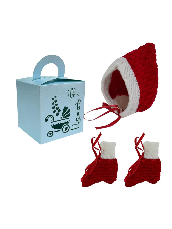 Little Angels Infants Boys Red   Green Caps   Socks Gift Set